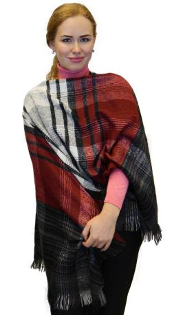 Plaid Checks Soft Wool Feel Poncho Cape Shawl Wrap, Black Burgundy Grey - Thumbnail 0