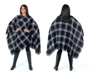Women's Fall Winter Poncho Cape Shawl Wrap, Black