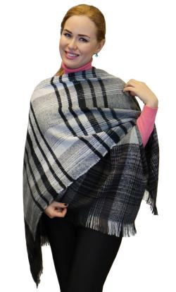 Plaid Checks Soft Wool Feel Poncho Cape Shawl Wrap, Black Light Grey