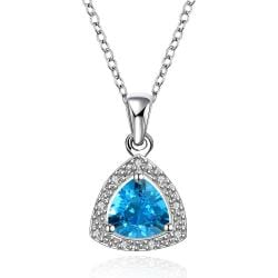 Vienna Jewelry Mock Sapphire Pyramid Shaped Jewels Insert Necklace