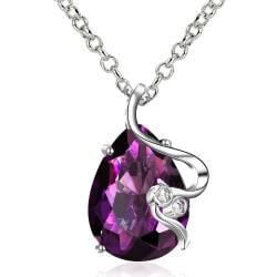 Vienna Jewelry Purple Citrine Gem Curved Lining Necklace - Thumbnail 0