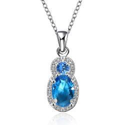 Vienna Jewelry Mock Sapphire Jewels Covering Necklace