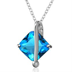 Vienna Jewelry Mock Sapphire Diamond Shaped Silver Lining Necklace