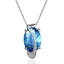 Vienna Jewelry Mock Sapphire Silver Lining Classic Necklace