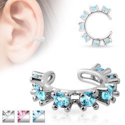 CZ Gem Rimmed Rhodium Plated Brass Non Piercing Ear Cuff - Thumbnail 0