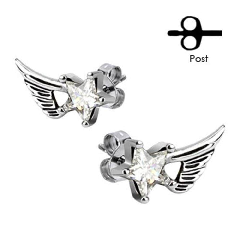 Pair of 316L Surgical Stainless Angelic Wings with Clear Star CZ Stud Earrings