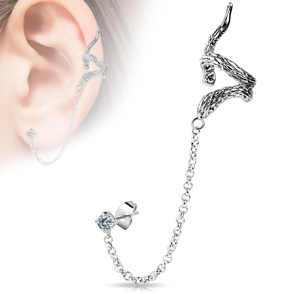 Snake Design ear Cuff with Chain Linked Clear CZ set Stud Earrrings