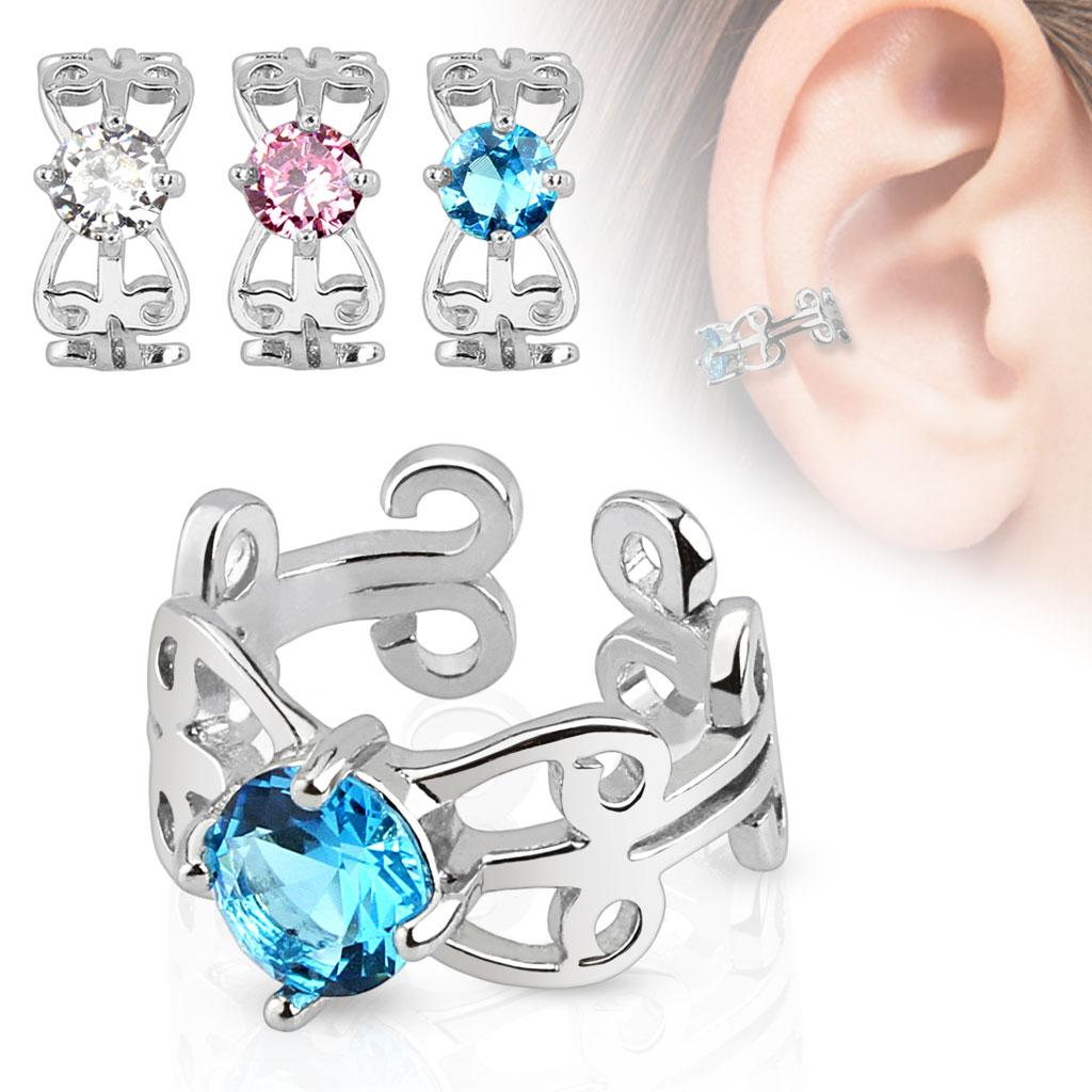 Carved Swirls with Center CZ Rhodium Plated Brass Non Piercing Ear Cuff (Sold Per Piece)