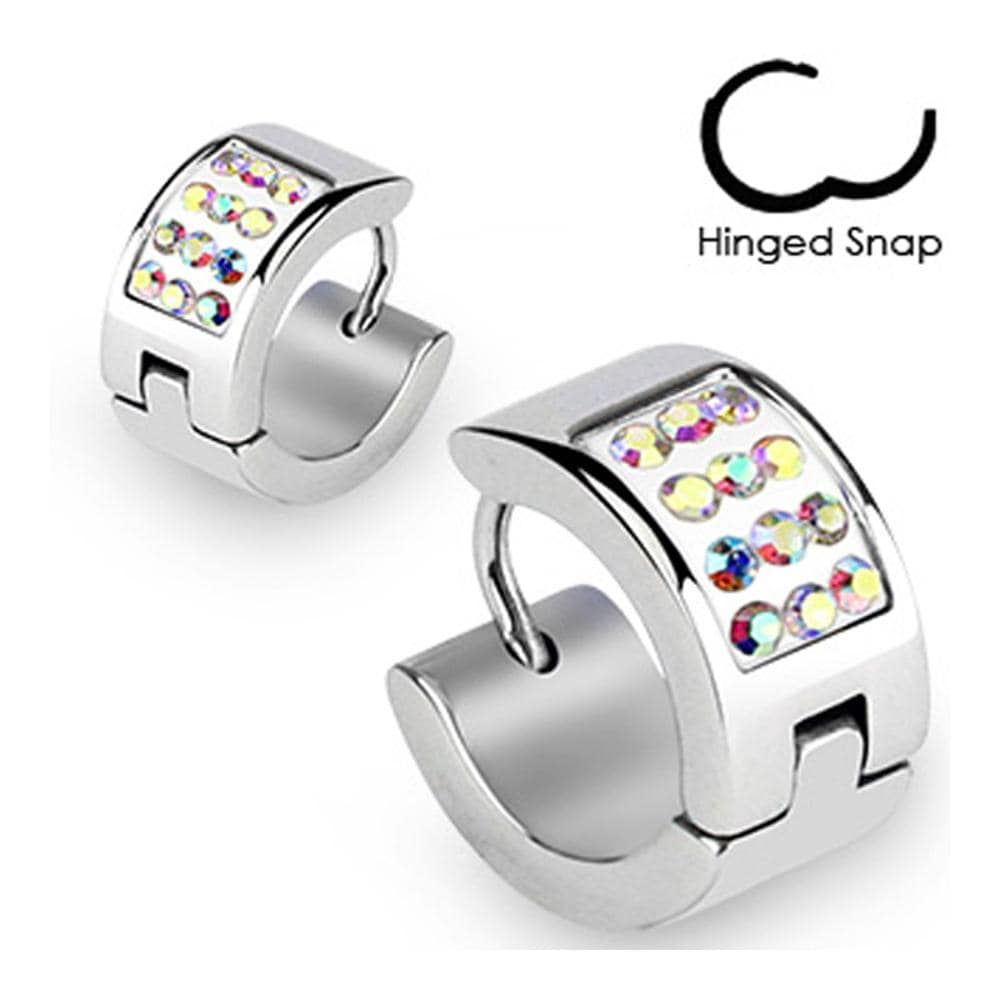 Stainless Steel Hoop Earrings with Paved Multi Aurora Borealis CZs