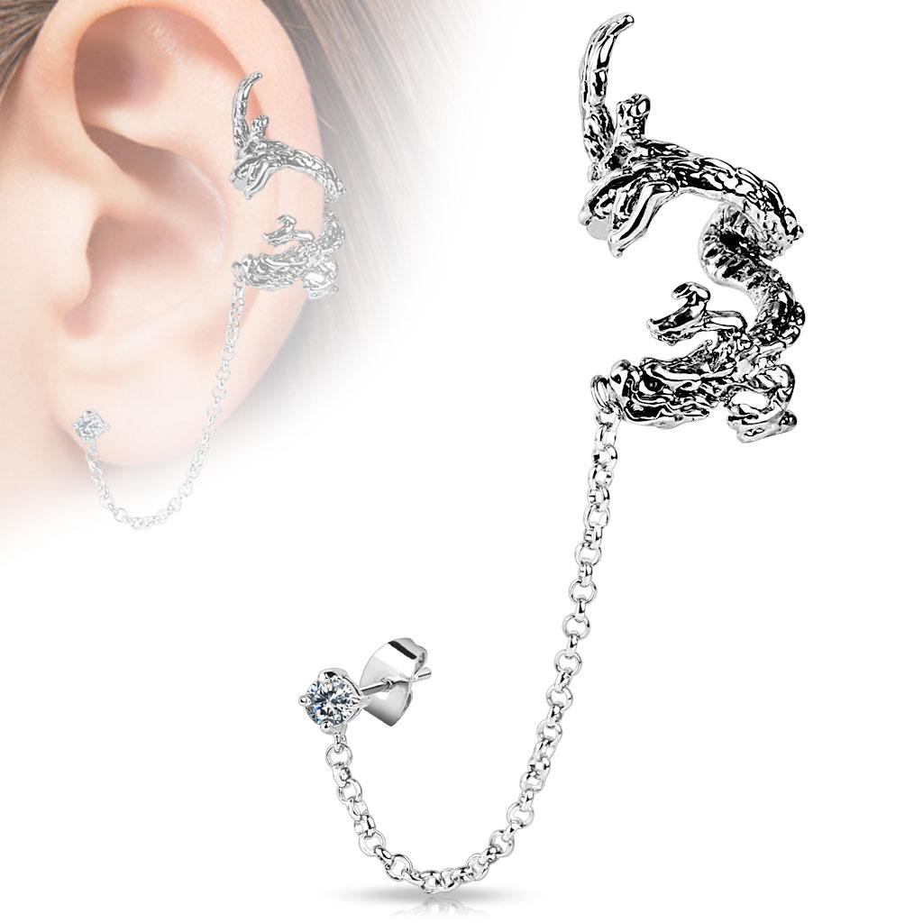 Flying Dragon Design Ear Cuff with Chain Linked Clear CZ set Stud Earrrings