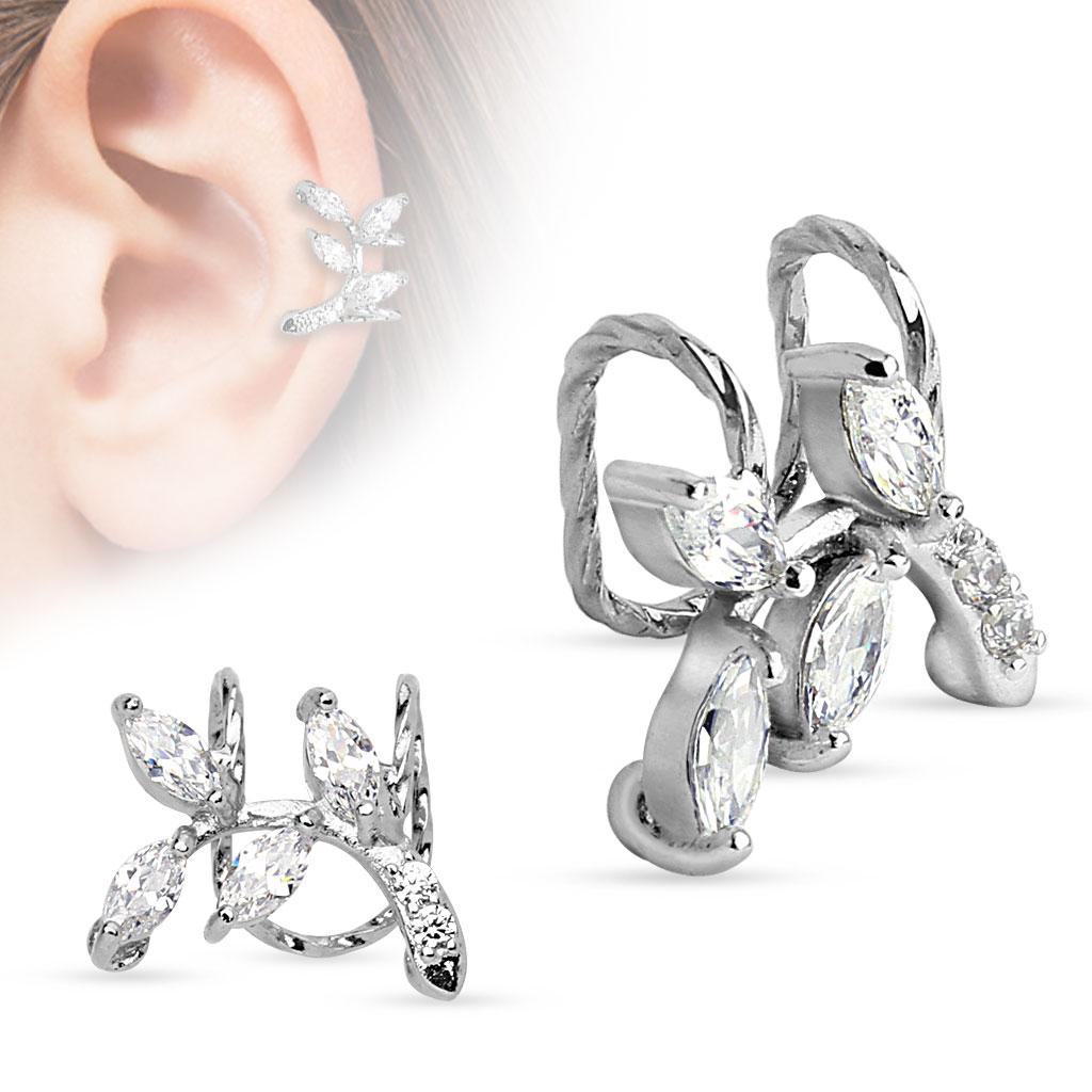 Branch with CZ Leaves Non-Piercing Ear Cuff