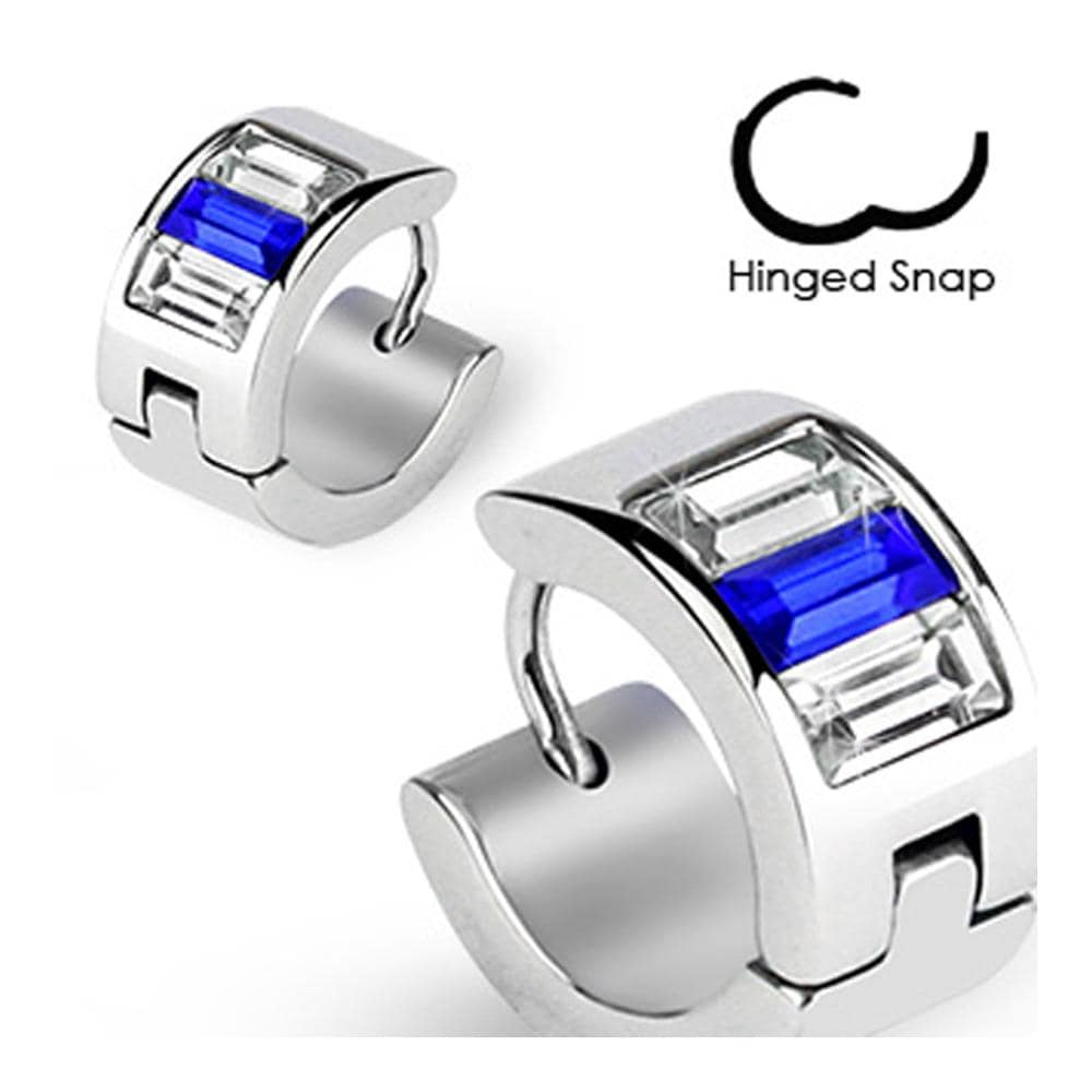 Stainless Steel Hoop Earrings with Emerald Cut Blue and Clear CZs