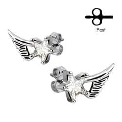 Pair of 316L Surgical Stainless Angelic Wings with Clear Star CZ Stud Earrings - Thumbnail 0