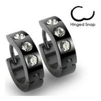 Stainless Steel Black Hinged Hoop Earrings with 3 Clear CZs