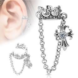 Crown with Chain and Clear CZ Set Cross Dangle Non-Piercing Ear Cuff - Thumbnail 0