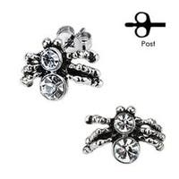 Pair of Stainless Steel Double CZ Spider Stud Earrings