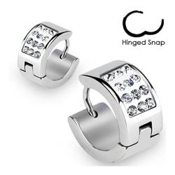 Stainless Steel Hoop Earrings with Paved Multi Clear CZs - Thumbnail 0