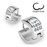 Stainless Steel Hoop Earrings with Paved Multi Clear CZs