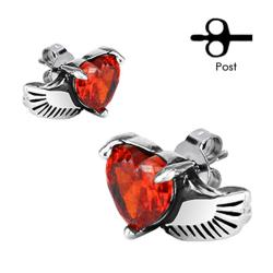 Pair of 316L Surgical Stainless Angel Wing with Heart Red Citrine CZ Stud Earrings - Thumbnail 0
