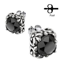 Pair of 316L Surgical Stainless Tribal Square Prong with Round Black CZ Stud Earrings - Thumbnail 0