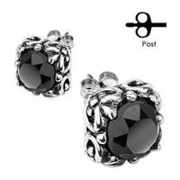 Pair of 316L Surgical Stainless Tribal Square Prong with Round Black CZ Stud Earrings