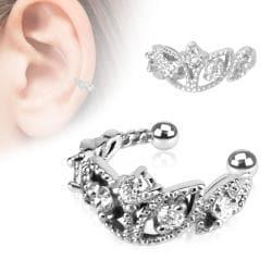 Beads Trimmed Clear CZ Rhodium Plated Brass Non-Piercing Ear Cuff - Thumbnail 0