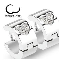 Pair of 316L Surgical Stainless Steel Hoop Earring with Multi Paved CZ Within Heart Shape - Thumbnail 0