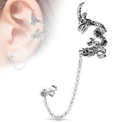Flying Dragon Design Ear Cuff with Chain Linked Clear CZ set Stud Earrrings - Thumbnail 0