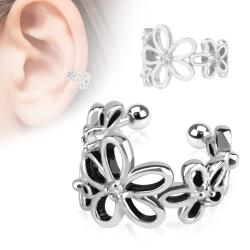 Flower with Clear CZ Rhodium Plated Brass Non-Piercing Ear Cuff - Thumbnail 0