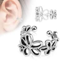 Flower with Clear CZ Rhodium Plated Brass Non-Piercing Ear Cuff