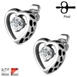 Pair of Hollow Heart with CZ Accent 316L Surgical Steel Earrings - Thumbnail 0