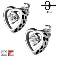 Pair of Hollow Heart with CZ Accent 316L Surgical Steel Earrings