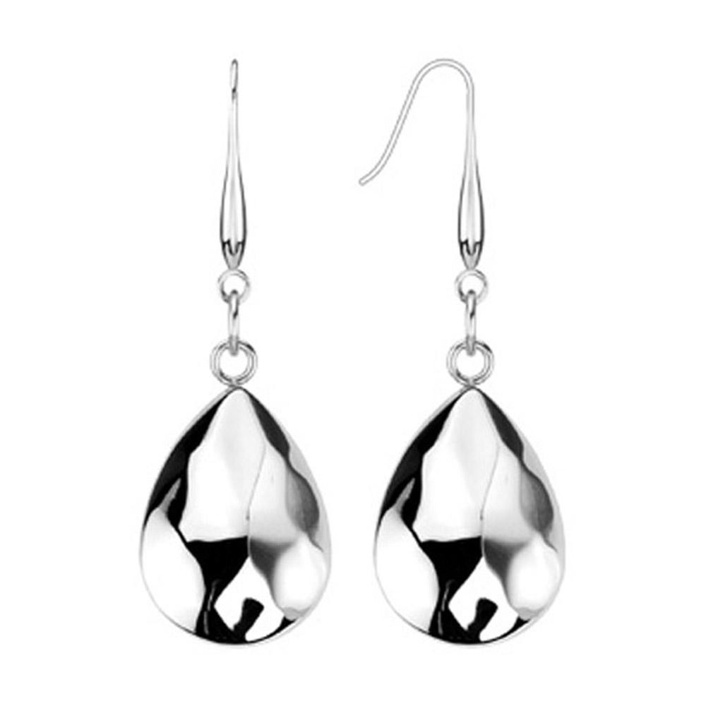 Pair of Stainless Steel Textured Teardrop Dangle Earrings