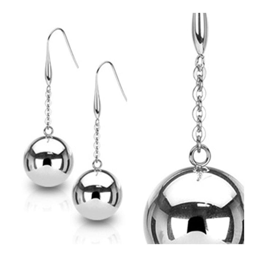 Stainless Steel Earrings with Large 20mm Light Steel Ball