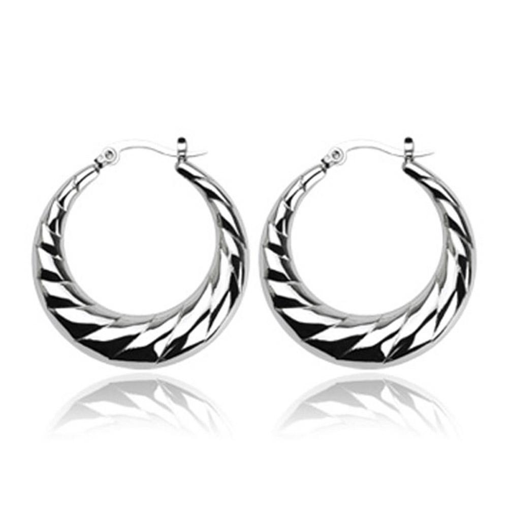 Stainless Steel 'Crescent Moon' Layered Design Click-Top Earrings
