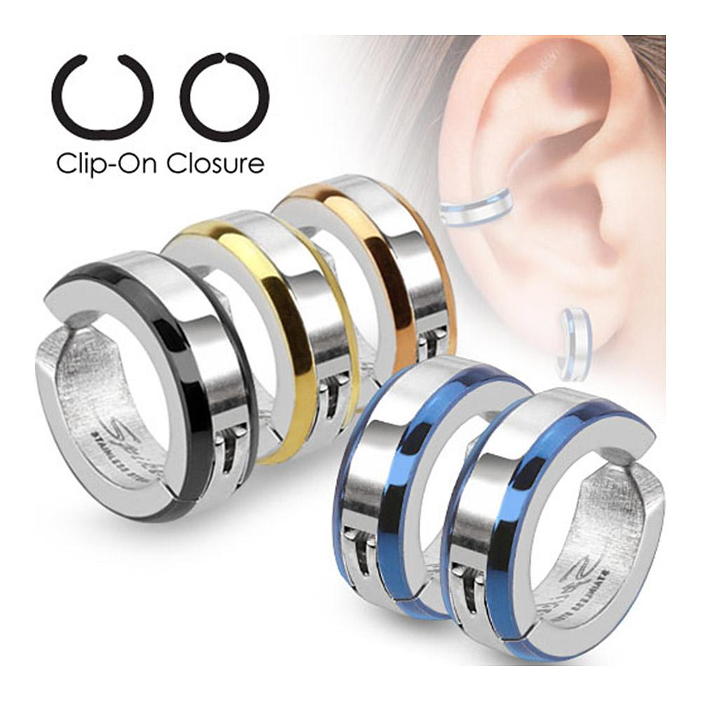 Beveled Edge Strip Color IP Pair of 316L Surgical Stainless Steel Non-Piercing Clip On Round Earrings