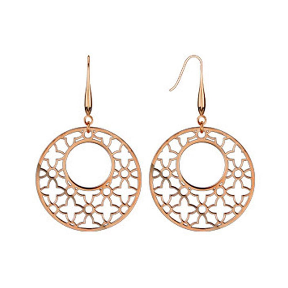 Pair of Rose Gold Plated Stainless Steel Micro Thin Laser Cut Ornament Dangle Earrings