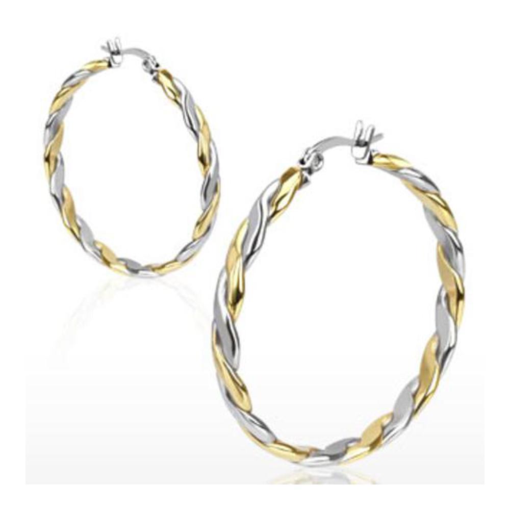 Pair of Stainless Steel Gold IP Duo Tone Rope Twist Hoop Earring