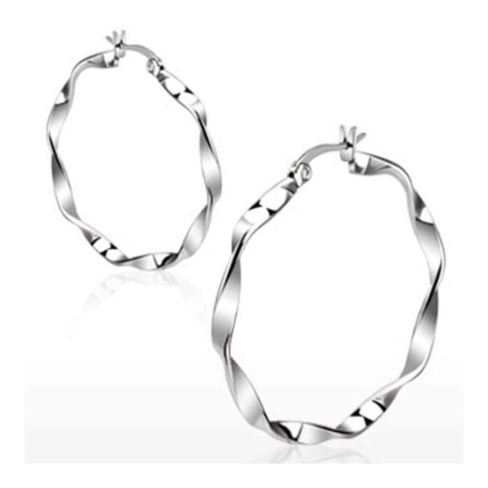 Pair of Stainless Steel Twisted Hoop Earring