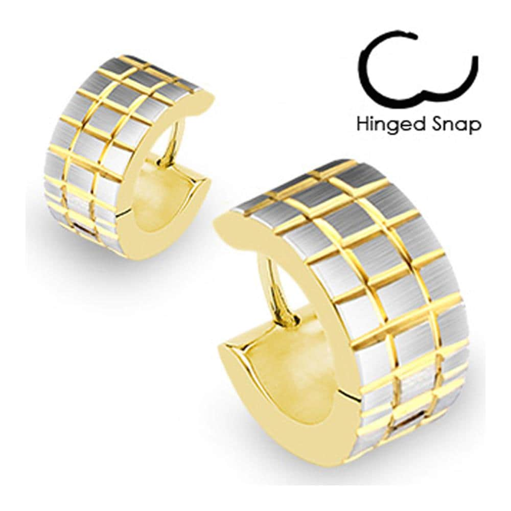 Stainless Steel Gold Plated Hoop Earrings with Brushed Steel Grooved Square Grids