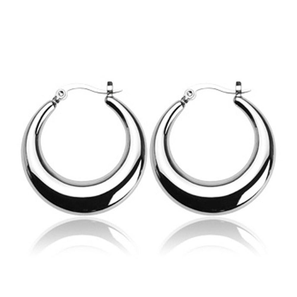 Stainless Steel 'Crescent Moon' Round Click-Top Earrings