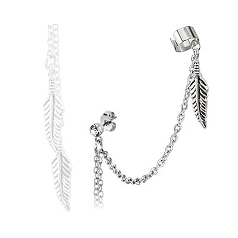 Feather Dangles with Stud Chain Earring with End Clip 316L Surgical Stainless Steel