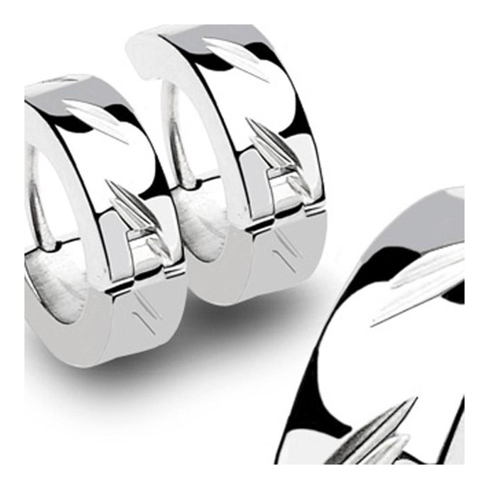 Stainless Steel Hinged Hoop Earrings with DiaCut (Sold in Pairs)
