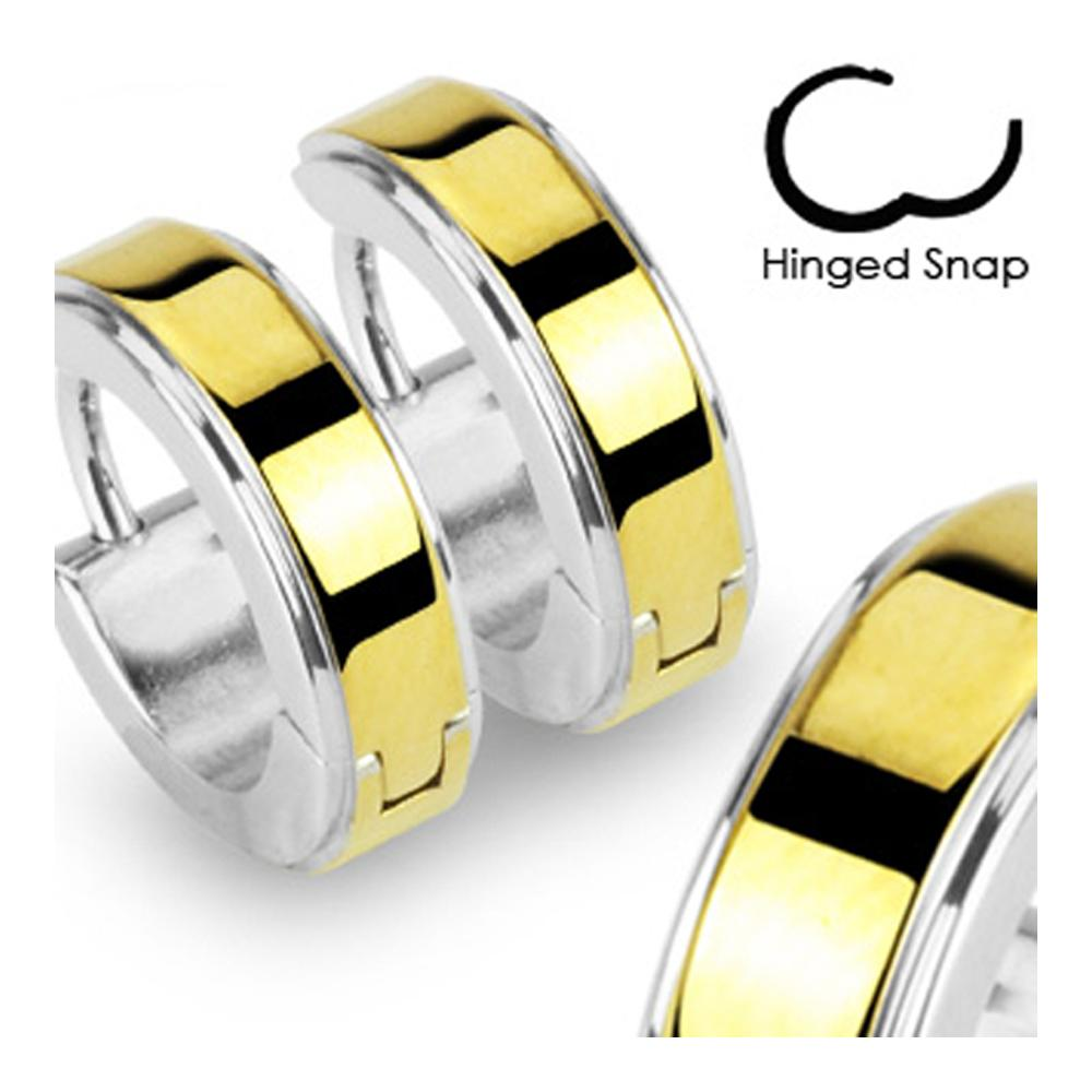 Stainless Steel Hinged Hoop Earrings with Gold Plate Center Layer