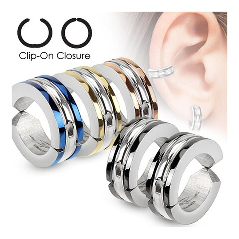 Edge Strip Color IP Pair of 316L Surgical Stainless Steel Non-Piercing Clip On Round Earrings