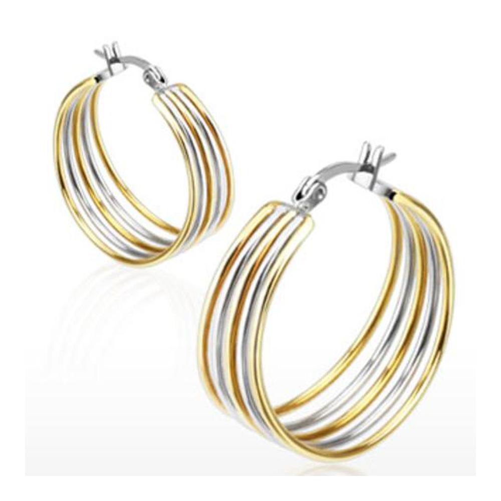 Pair of Stainless Steel Gold IP Duo Tone Five Rings Hoop Earring