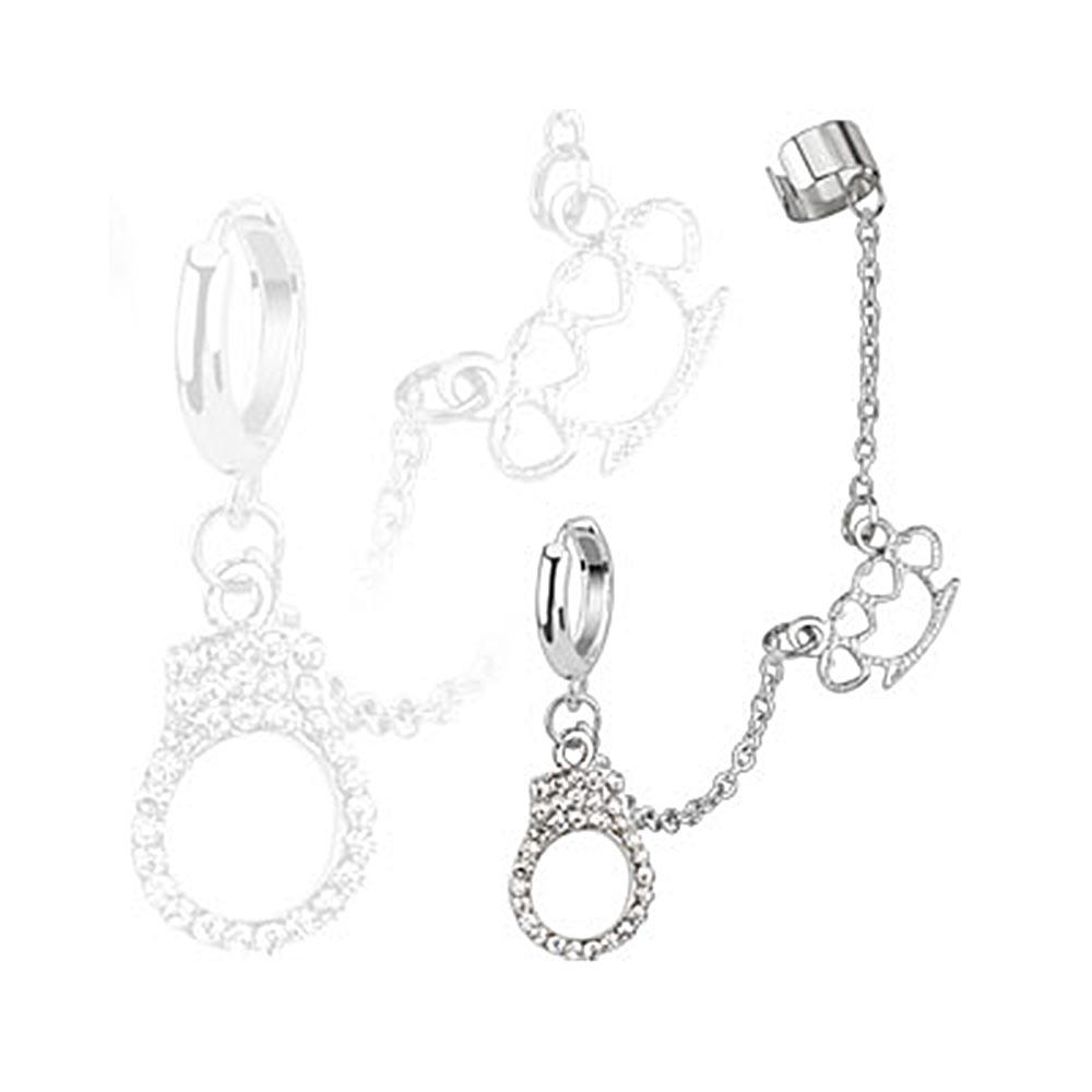 Hoop Chain Earring w/ Brass Knuckle and Gemmed Cuffs Dangles with End Clip 316L Surgical Stainless Steel