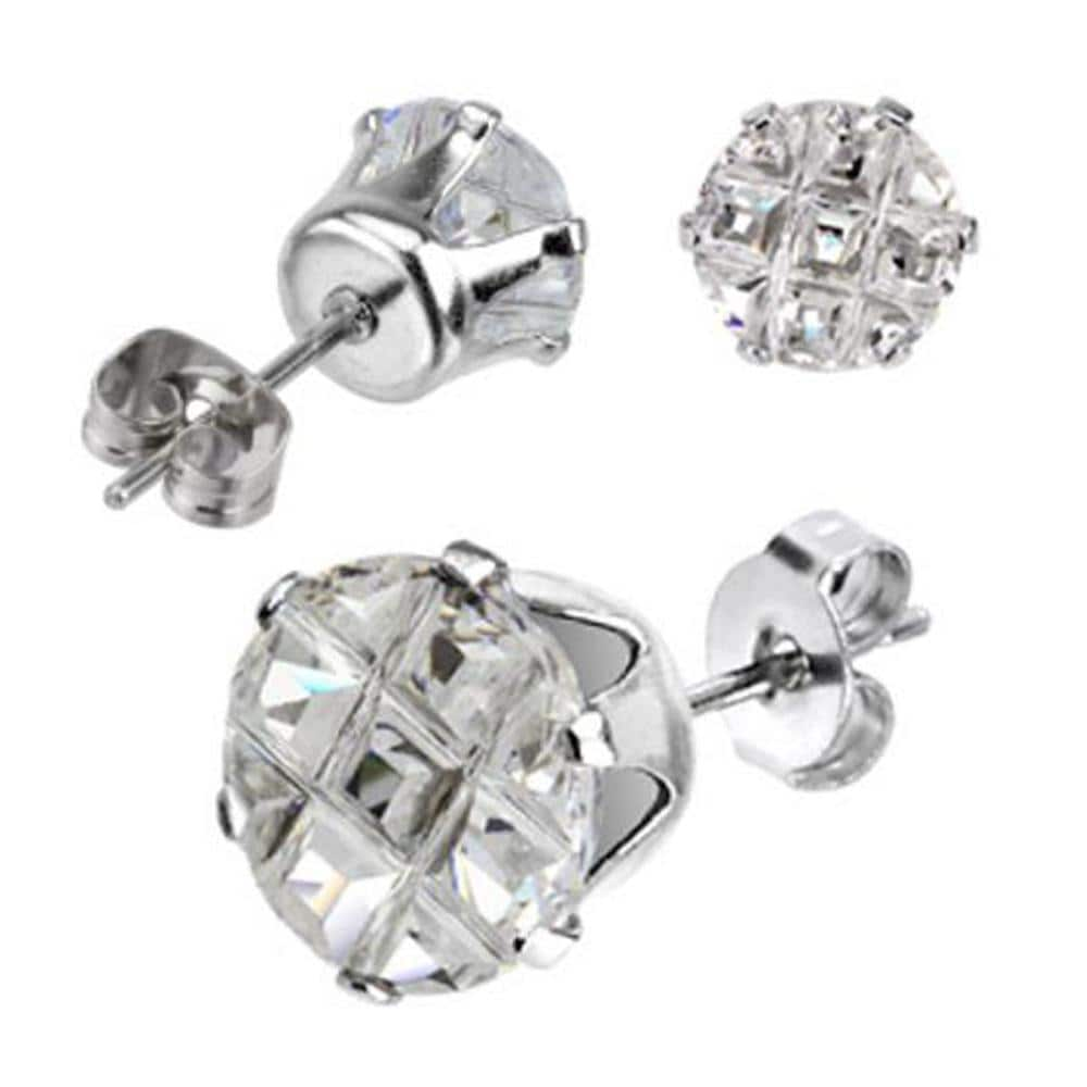 Pair of Stainless Steel Multi Faceted Round Grid Gem Earrings - 6mm Diameter