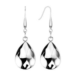 Pair of Stainless Steel Textured Teardrop Dangle Earrings - Thumbnail 0