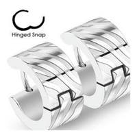 Pair of 316L Surgical Stainless Steel Two Tone Hoop Earring with Zebra Stripes